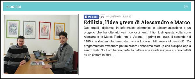 Edilizia, l'idea green di Alessandro e Marco – Tipi Tosti