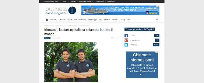Idrowash, la start up italiana chiamata in tutto il mondo