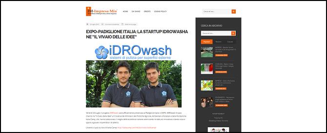 """EXPO – PADIGLIONE ITALIA: la startup iDROwash ne """"Il Vivaio delle Idee"""""""