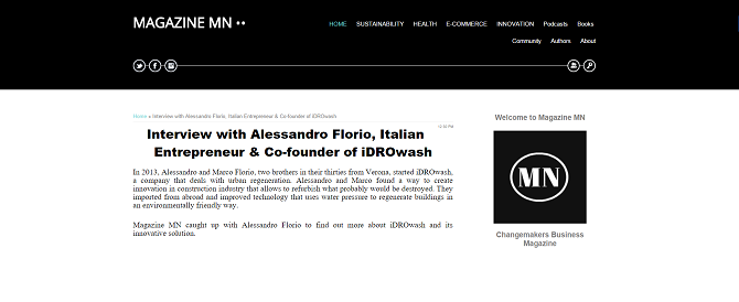 Interview with Alessandro Florio, Italian Entrepreneur & Co-founder of iDROwash