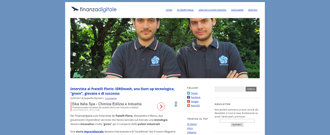 """iDROwash, una Start up tecnologica, """"green"""", giovane e di successo"""